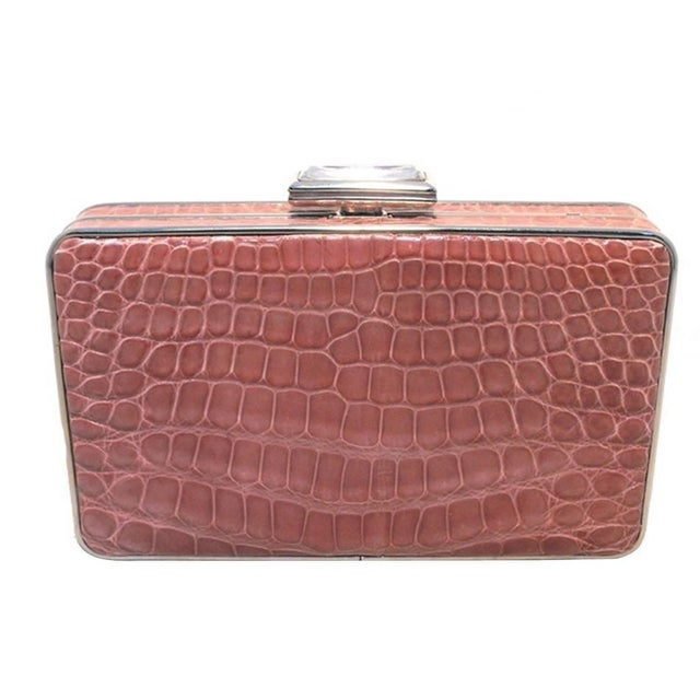 Judith Leiber Pink Alligator Box Clutch With Crystal Closure For Sale - Image 9 of 9