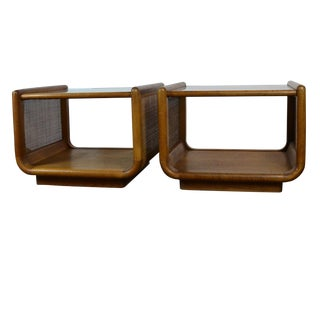 Mid-Century Modern Glass Top End Tables - a Pair For Sale