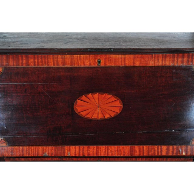 19th C. English Inlaid Mahogany Drop Desk For Sale - Image 9 of 11