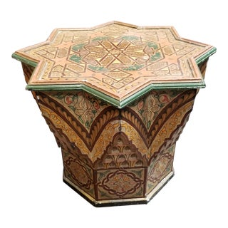 Moorish Moroccan Hand Painted Star Shaped Side Table For Sale