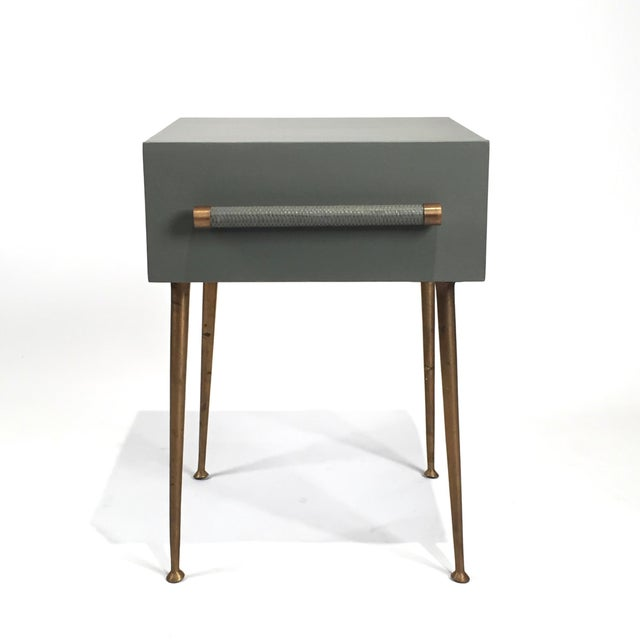 Danish Modern One-Drawer Bedside Table With Wicker and Brass Pull/Legs For Sale In Seattle - Image 6 of 6