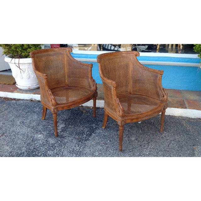 French Pair of Louis XVI Style Armchairs For Sale - Image 3 of 13