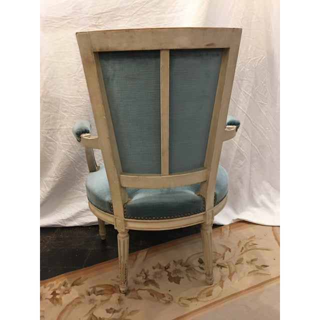 French Louis XVI Styled Painted Armchairs in Blue Velvet - a Pair For Sale - Image 3 of 10