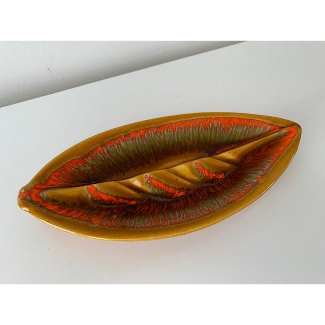 Mid Century Leaf Shape Lava Glaze Ashtray For Sale - Image 10 of 10
