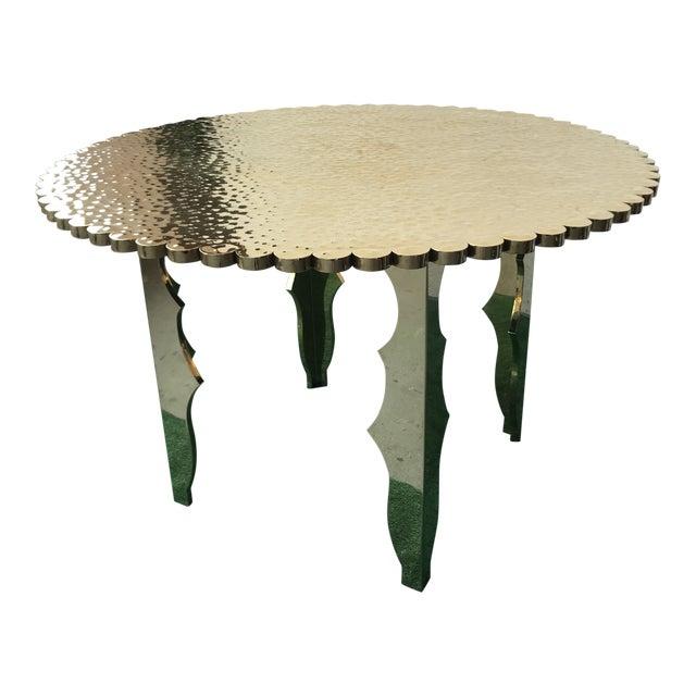Klassik Monumental Brass Hammered Entry Table For Sale