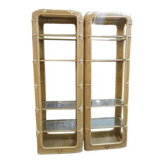 Boho Chic Ficks and Reed Rattan Bookcases - a Pair For Sale