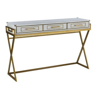 Contemporary Currey & Co. Brass Detailed Console For Sale