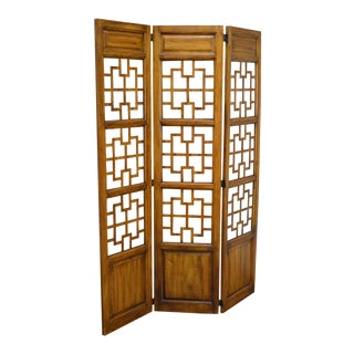 Mid Century Vintage Asian Style 3 Panel Room Divider Folding Screen For Sale
