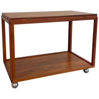 Danish Modern Rolling Teak Extension Serving Table Cart For Sale