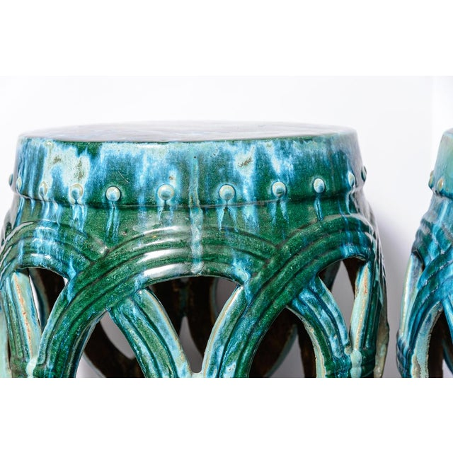 1940s Chinese Old Large Green & Blue Glazed Terra Cotta Barrel Shape Garden Stool, A-Pair For Sale - Image 5 of 12