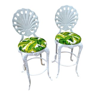 Rare Brown Jordan Grotto Shell Back White Gloss Palm Beach Regency Bar Stools a Pair For Sale