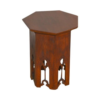 Gothic Arts & Crafts Antique Heptagon Taboret Side Table For Sale