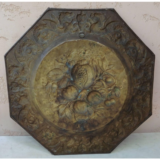 French oversize brass fruits platter, circa 1890, Renaissance Revival, a second platter is available same size.