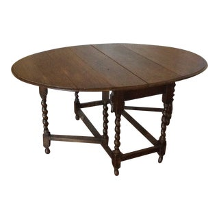 Barley Twist Leg, Drop Leaf Oval Dark Oak Dining Table For Sale