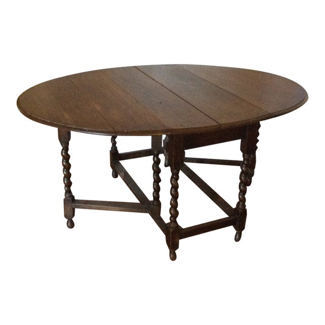 Barley Twist Leg, Drop Leaf Oval Dark Oak Dining Table For Sale