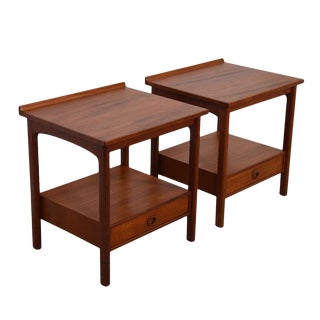Rare Pair of Early Dux Nightstands in Teak For Sale