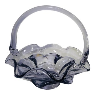 Viking Traditional Glass Ruffled Basket Purple Double Crimped Bowl For Sale