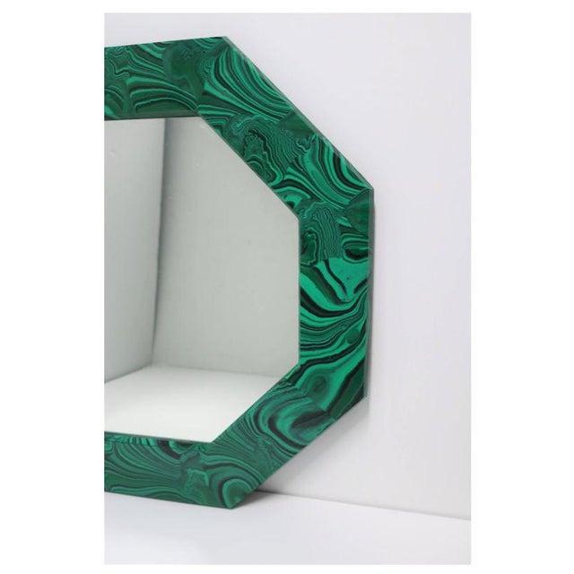 Gemstone Green Malachite Octagonol Wall Mirror For Sale - Image 7 of 13