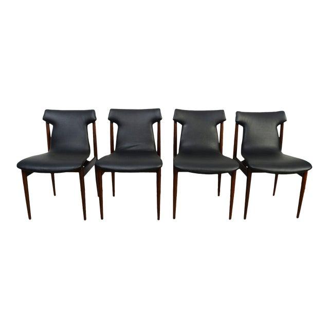 1960s Vintage Klingenberg for Fristho Danish Modern Rosewood Dining Chairs- Set of 4 For Sale