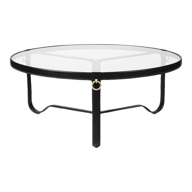 Mid-Century Modern Gubi Adnet Leather Coffee Table in Black For Sale