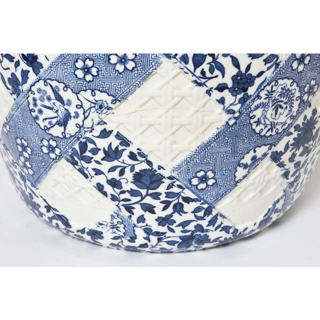 Antique 19th Century Minton Blue and White Basket Weave Garden Seat Stool For Sale - Image 10 of 13