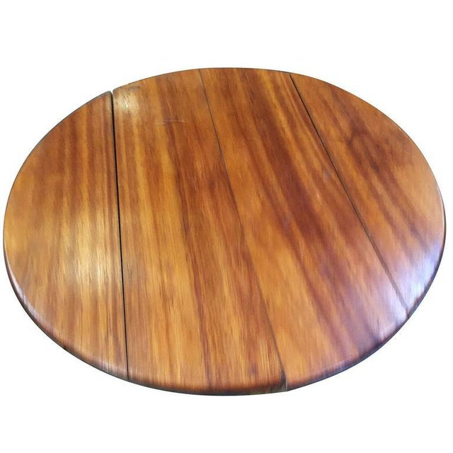Restored Circular Rattan Coffee Table with Mahogany Top For Sale - Image 4 of 5