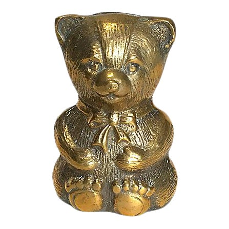 1980s Brass Teddy Bear Bank For Sale