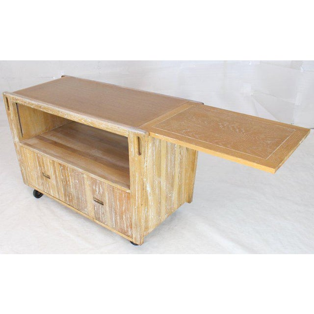 1970s Arts & Crafts Adze Cut Ceruised Oak Finish Serving Cart Bar on Wheels For Sale - Image 6 of 12