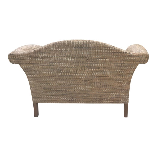 Wood Natural Woven Rattan Settee For Sale - Image 7 of 9