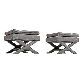 Billy Baldwin X Footstool Ottomans in Grey Hollywood Regency - a Pair