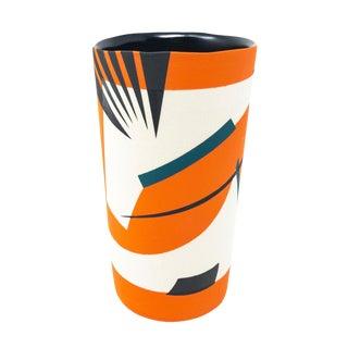 Mid-Century Style Handmade Ceramic Tumbler - Orange For Sale