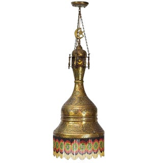 Antique Syrian Pierced Brass Chandelier For Sale