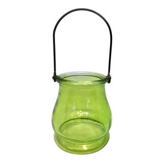 Vintage Green Glass Lantern For Sale