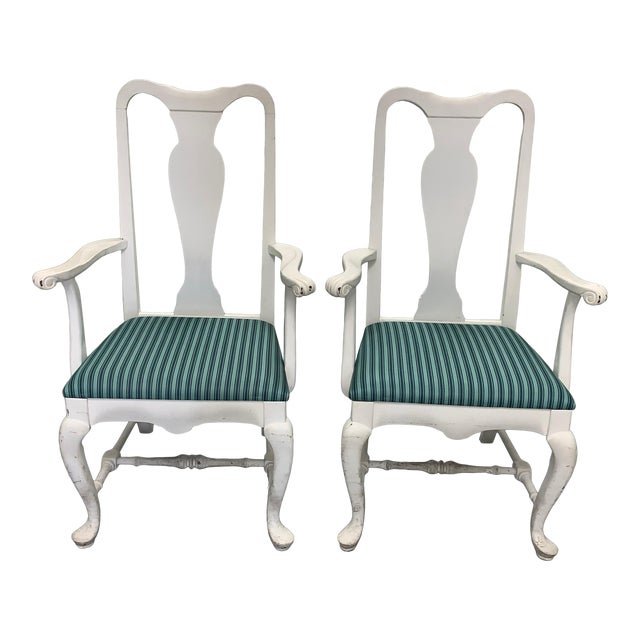 Pair of Brockschmidt & Coleman White Armchairs For Sale