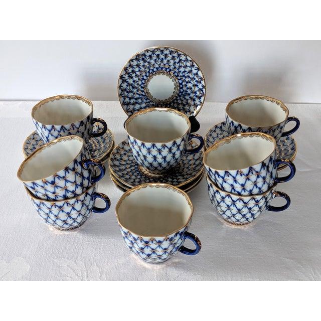 Vintage Russian Lomonosov Cobalt Net Demitasse Set - 16 Pieces For Sale - Image 11 of 11