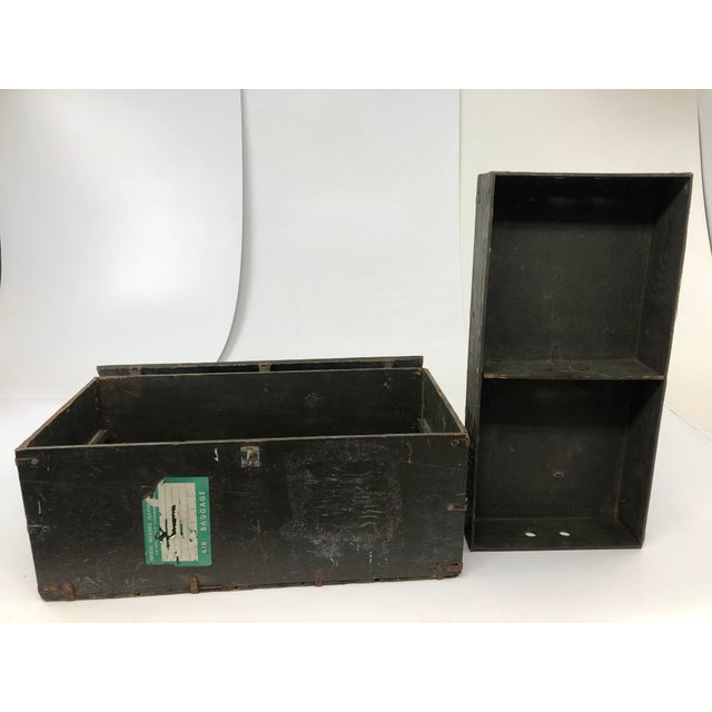 United States Army Vintage Industrial Wood Military Foot Locker With Tray For Sale - Image 4 of 13