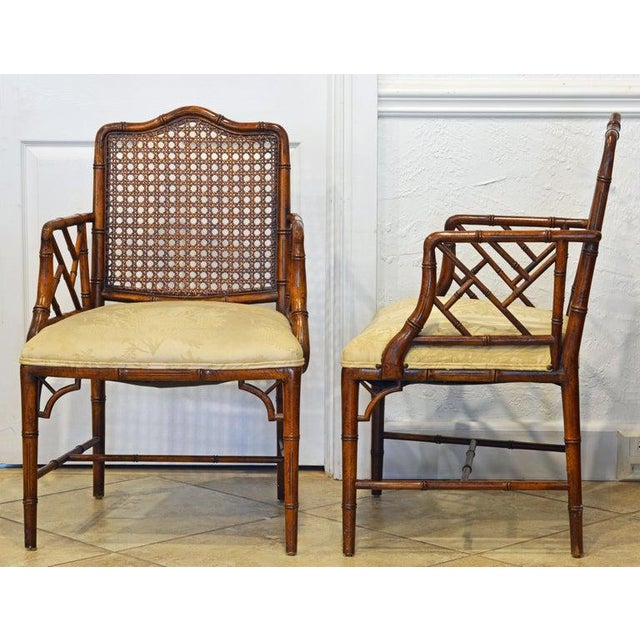 Asian Pair of Chinoiserie Chippendale Style Upholstered Faux Bamboo Wooden Armchairs For Sale - Image 3 of 13