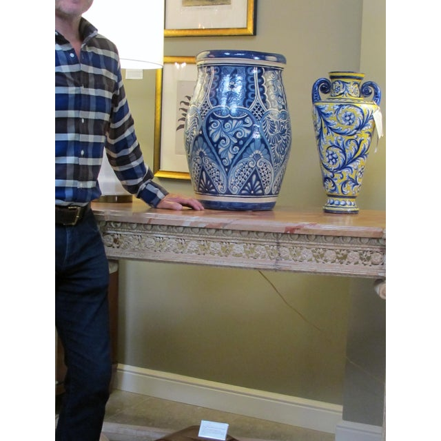 Folk Art A Large Mexican Hand-Thrown Blue and White Glazed Barrel-Form Pot From Talavera Vazquez For Sale - Image 3 of 4