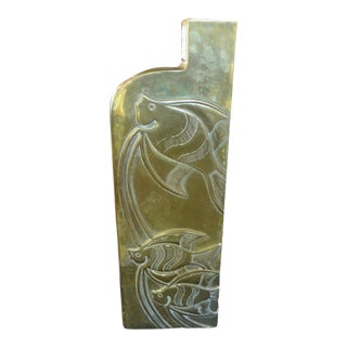 1960's Modernist Brass Vase With Etched Fish For Sale