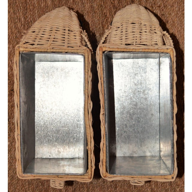Boho Chic Wicker Elephant Basket Planters - a Pair For Sale - Image 4 of 12
