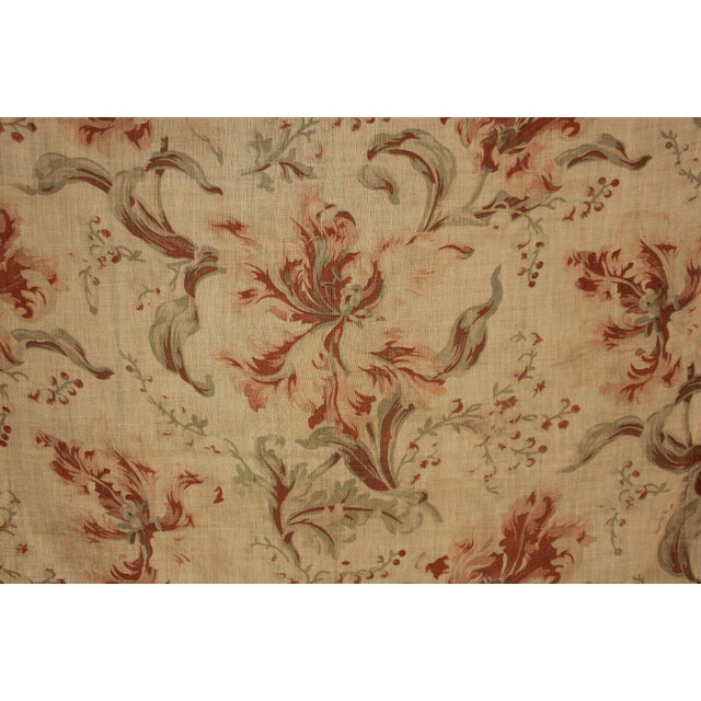 French Antique French Sheer Fabric W/ Floral Pattern C 1900 Orange + Green For Sale - Image 3 of 5