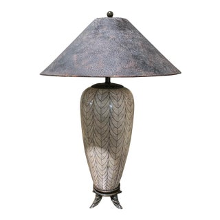 Maitland Smith Beige Metal Table Lamp With Textured Shade For Sale