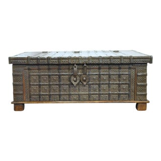 19th Century English Carved Chestnut Trunk Coffee Table