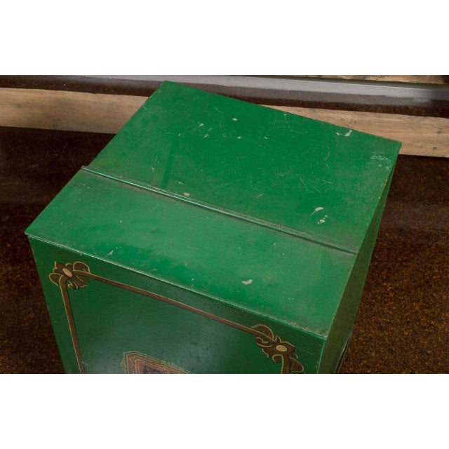 Large Scale Green Tin Bin, English circa 1880 For Sale - Image 5 of 7