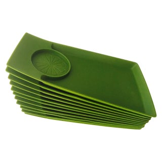 Mid Century Green Stacking Trays - Set of 11 For Sale