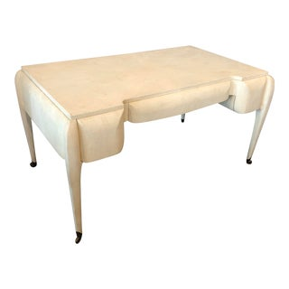 1970s Maitland Smith Shagreen Desk W Brass Sabots For Sale
