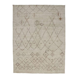 Contemporary Moroccan Style Area Rug with Tribal Symbols