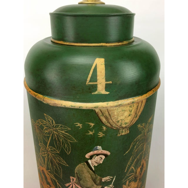 1960s English Export Tea Caddy #4 Lamp Green Background With Gold Painted Accents For Sale - Image 5 of 6