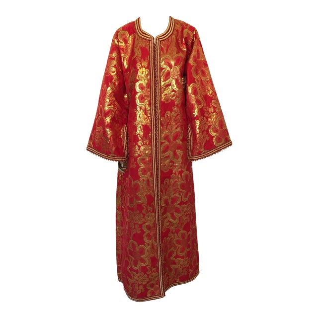 Vintage 1970s Moroccan Kaftan Red and Gold Floral Brocade Caftan Maxi Dress For Sale
