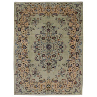 20th Century Persian Pastel Celadon Kashan Area Rug For Sale